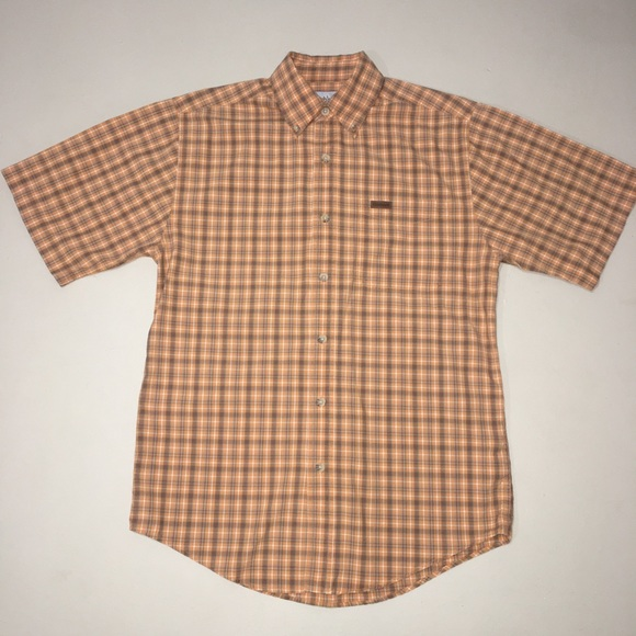 Carhartt Other - Carhartt Short Sleeve Button Up Plaid Orange Small